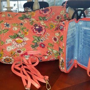 Vera Bradley Coral Floral Carson Hobo Bag